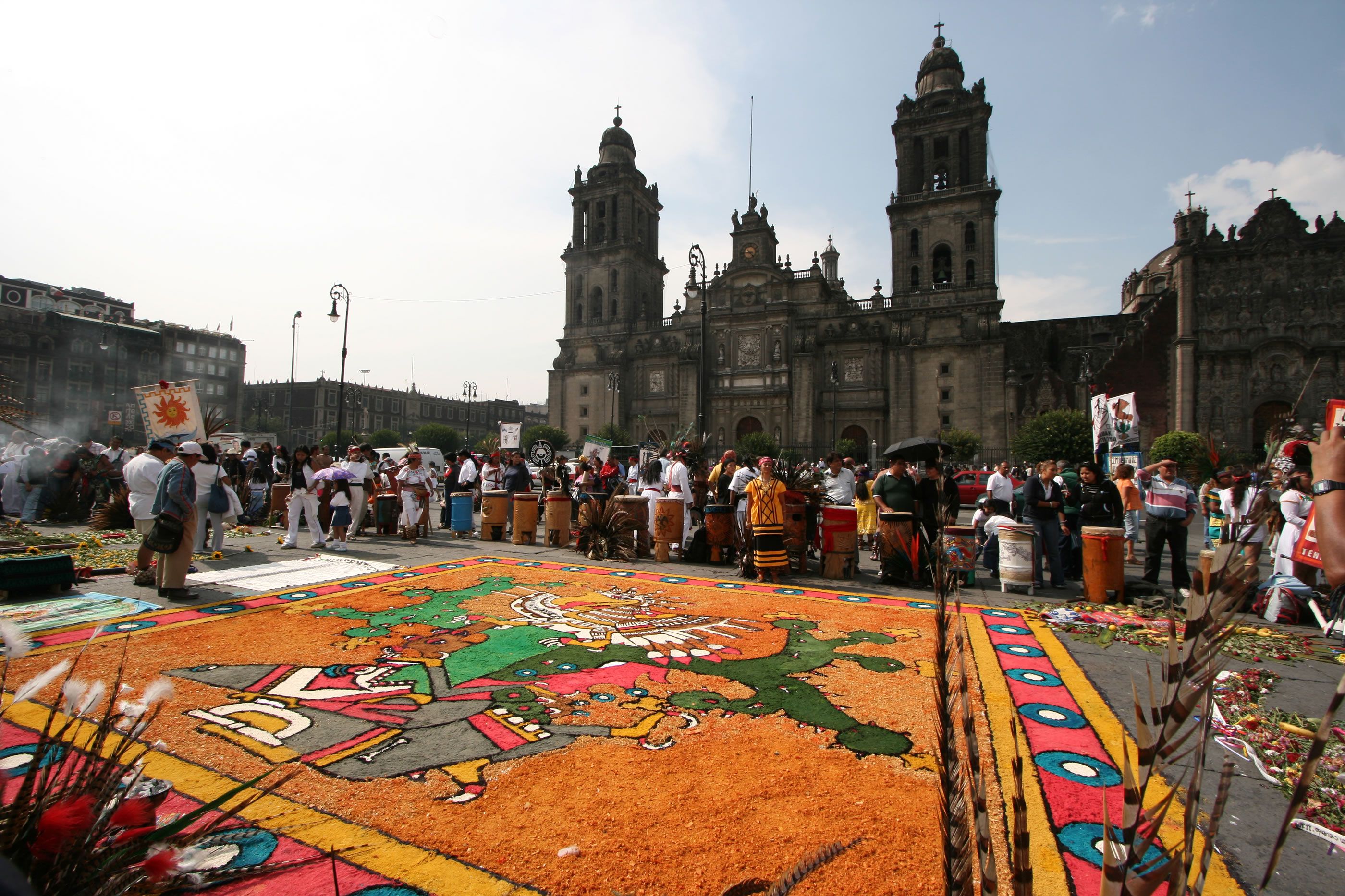 An Aztec Display in the Zocalo in Mexico City