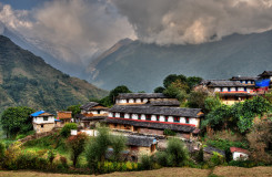 Ghandruk village in the Annapurna region, Nepal, HDR
