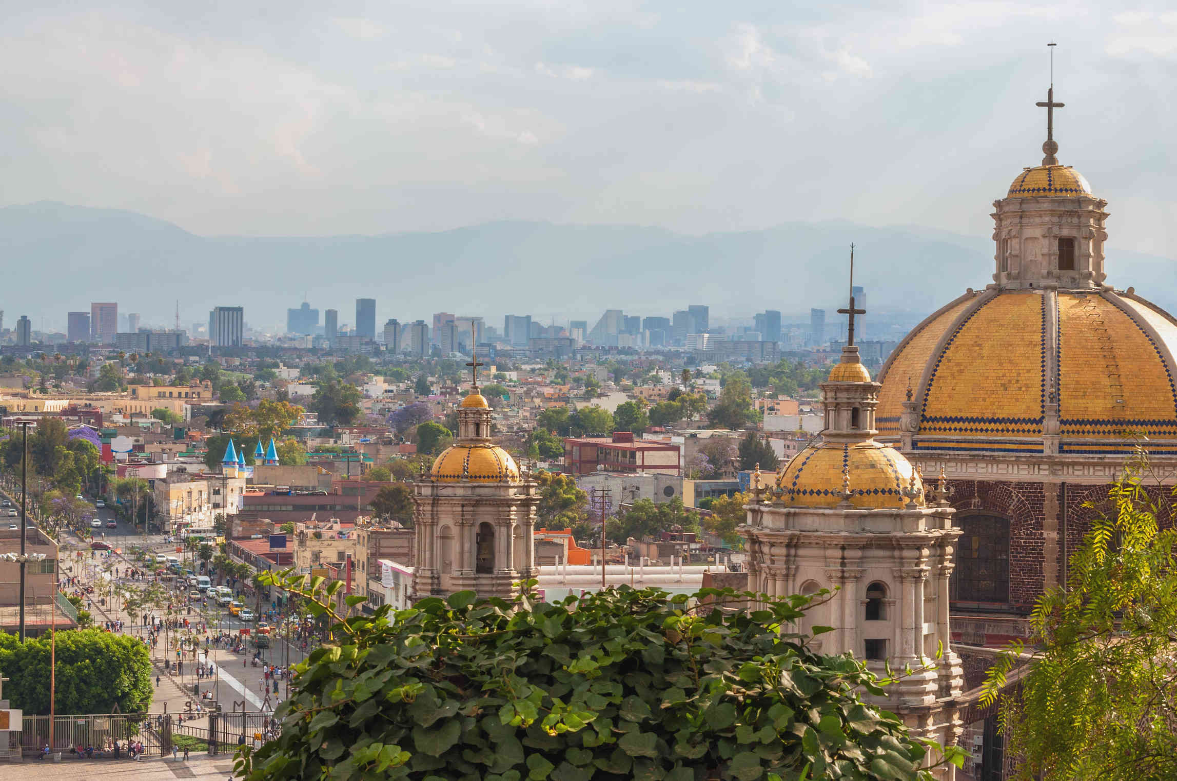 Basilica of Guadalupe with Mexico City Skyline