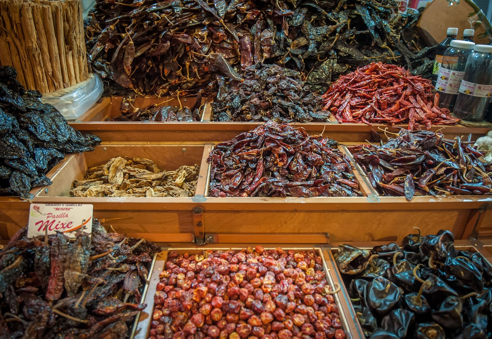 Choice Of Dried Chili In Oaxaca Market