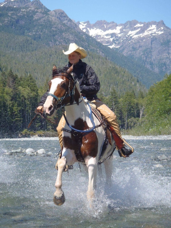 Clayoquot horseback river cowgirl
