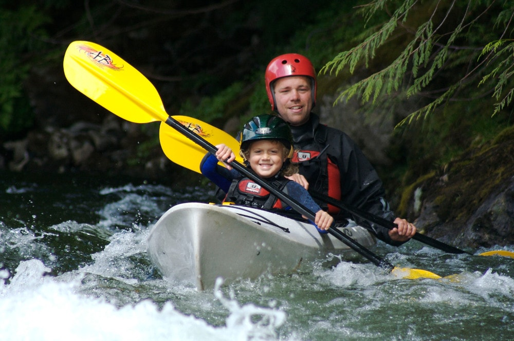 Clayoquot kayak river tandem happy kid