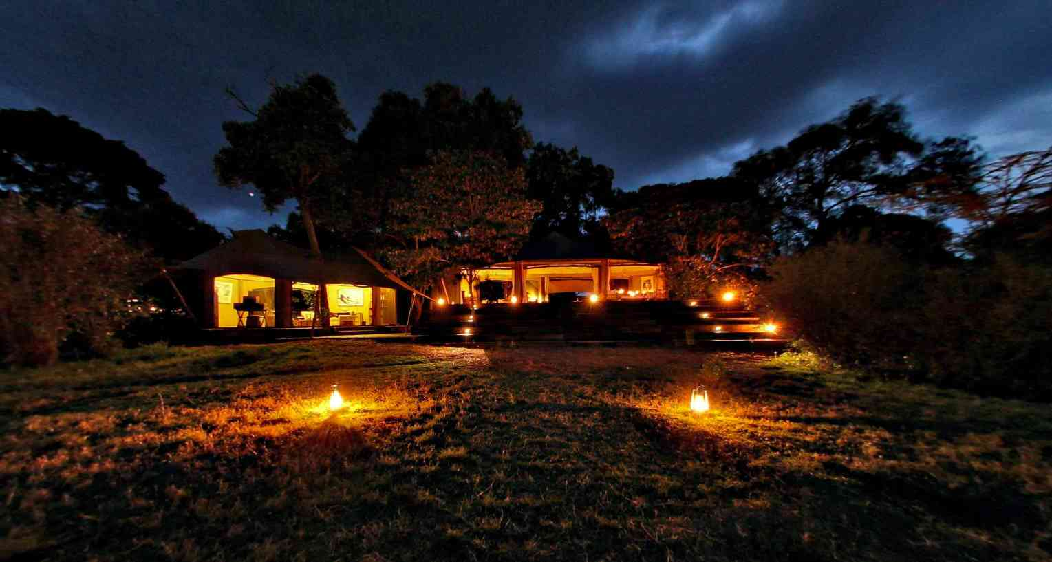 Mara Plains Camp at night