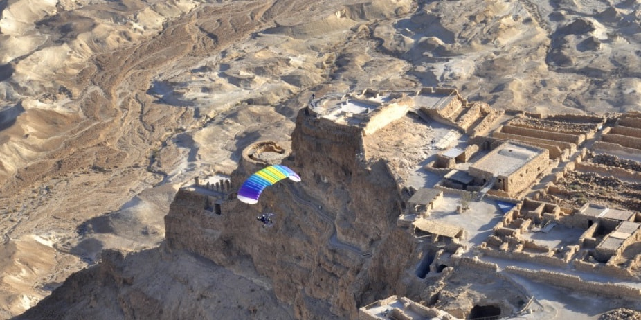 Paragliding over the Dead Sea
