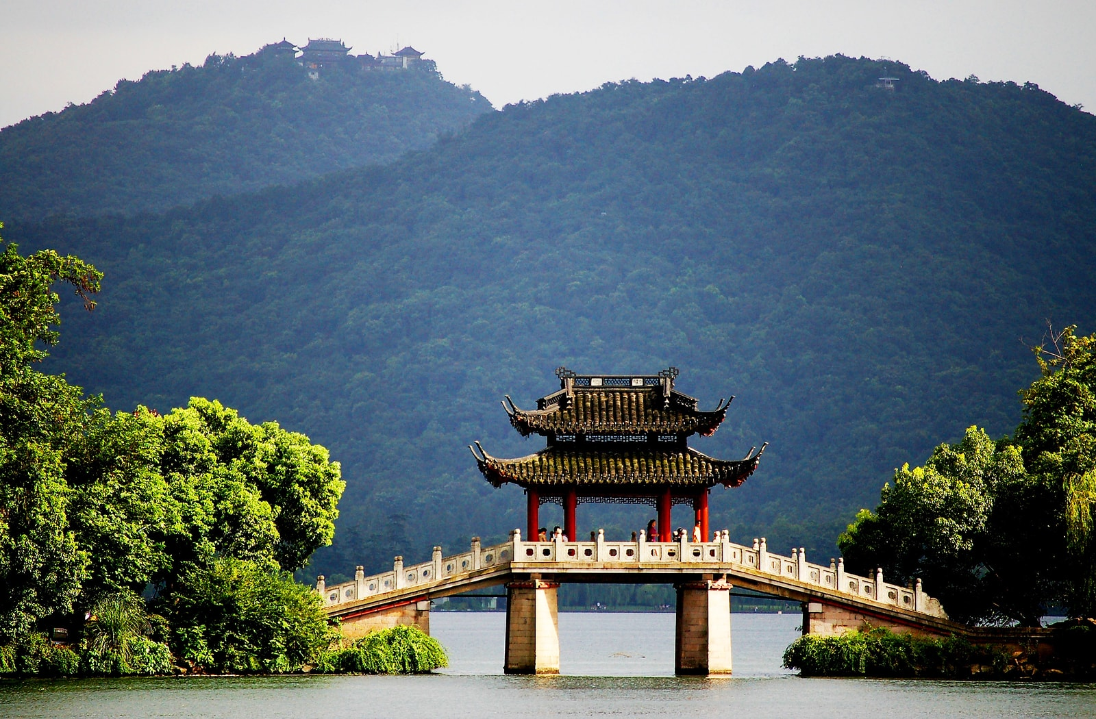 Pavilion Bridge in West Lake Hangzhou China
