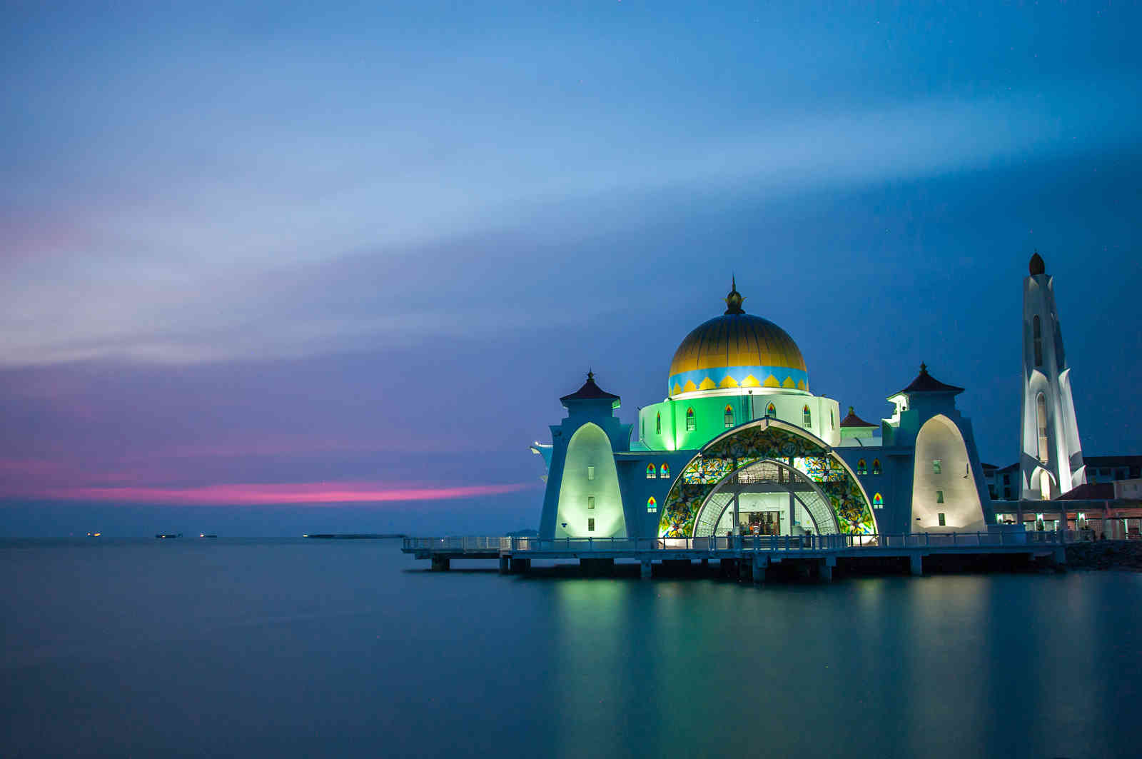 Strait mosque during blue hour Malaysia